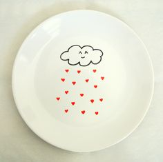 Cute Cloud Raining Red Hearts Ceramic Side Plate 21cm 8inches White Homeware. $15,00, via Etsy.