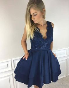Cute A line navy blue lace short prom dress, homecoming dress,Charming Party Dresses, Sexy Cocktail Dresses