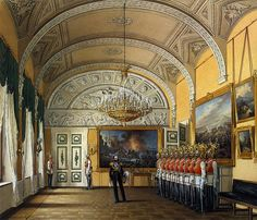 Interiors of the Winter Palace. The Guardroom - Edward Petrovich Hau - Drawings, Prints and Painting from Hermitage Museum