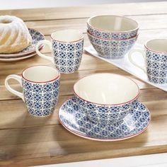3-teiliges Frühstücksservice in Blau - ein hübscher Blickfang bei Tisch
