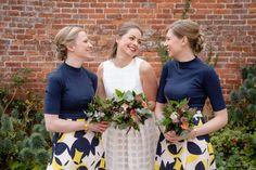 Bride and bridesmaids in yellow and blue - Delbury Hall Wedding - Ellie & Adam | Nicola Gough - Wedding Photography