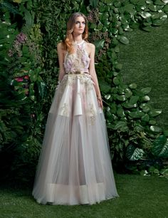 Ball gown in Silk Shantung and Tulle overlay adorned with embroidered lace with feather details