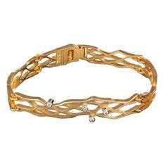 Diamond Flow Bracelet 4x0,03 /  Gold Bracelet / Design: Pekka Hirvonen / Lapponia Jewelry / Handmade in Helsinki