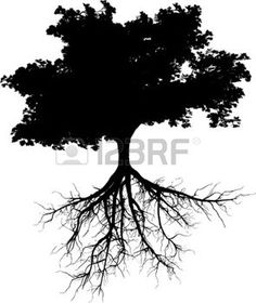 Illustration of Silhouettes of tree with its roots vector art, clipart and stock vectors. Tree With Roots Drawing, Kiefer Silhouette, Tree Roots Tattoo, Tree Tattoos, Tree Of Life Artwork, Tree Art, Pine Tree Silhouette, Silhouette Tattoos, Black Tree