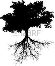 planta con raiz: Siluetas de árbol con sus raíces Vectores
