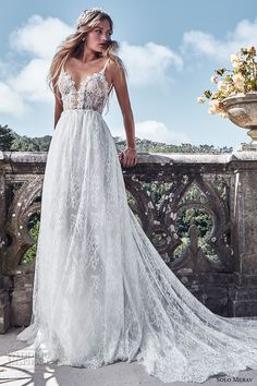 solo merav 2017 bridal thin strap plunging sweetheart neckline full embellishment sexy romantic a line wedding dress low back chapel train (plasida) mv