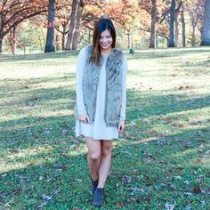 Faux Fur Inexpensive Swing Dress Brown Booties Fall Outfit
