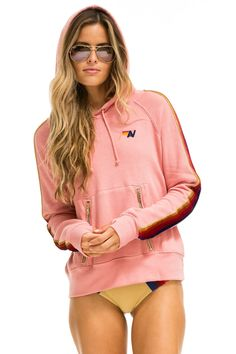 CLASSIC PULLOVER HOODIE - PETAL // VELVET STRIPES - Aviator Nation