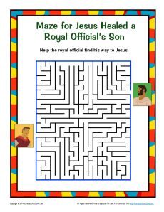 Jesus Healed a Royal Official's Son Maze