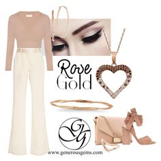 """""""Rose Gold Style"""" by generousgems ❤ liked on Polyvore featuring Prabal Gurung, Whistles and Gianvito Rossi"""