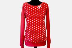 """Sweatshirts - Pulli """" Abby """" Retro Punkte rot weiß - ein Designerstück von EMS-ART-FACTORY bei DaWanda"""