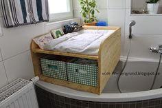 Vom Wiesengrund: Wickelkommode als Aufsatz für die Badewanne selbstgebaut - Beschäftigung bei Regenwetter