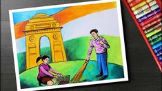 How to draw clean India drawing - Swachh Bharat Abhiyan drawing with oil pastels. How to draw swachata Abhiyan drawing for kids ( clean India Green India dra. Painting Pictures For Kids, Pictures To Paint, Painting For Kids, Drawing For Kids, Oil Pastel Paintings, Oil Pastel Art, Clean India Posters, Save Water Drawing, Cat Drawing Tutorial