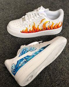 "Custom Sneakers Nike Air Force Hand Painted ""Sea Wave and Fire"" - Cute Nike Shoes, Cute Sneakers, Nike Air Shoes, Sneakers Nike, Adidas Shoes, Adidas Outfit, Vans Shoes, Custom Painted Shoes, Custom Shoes"