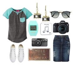 """""""Untitled #114"""" by modest-texan ❤ liked on Polyvore featuring Derek Heart, Betsey Johnson, Current/Elliott, Nixon, Converse, Eos, Casetify, Ray-Ban and Happy Plugs"""