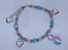 SIDS and Babyloss awareness bracelet with open heart charms