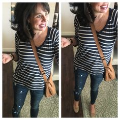 Great Spring outfit!  Striped v-neck sweater, nude flats, distressed skinny jeans, and my favorite cross body!