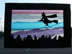 Tissue paper window picture with silhouettes. Halloween Arts And Crafts, Halloween Decorations, Holidays Halloween, Halloween Kids, Fall Festival Crafts, Tissue Paper Art, 6th Grade Art, Easter Art, School Art Projects