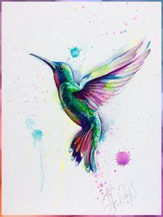 Watercolor Paintings Of Animals, Watercolor Artwork, Watercolor Illustration, Hummingbird Illustration, Watercolor Hummingbird, Hummingbird Art, Art Colibri, Vogel Illustration, Bird Artwork