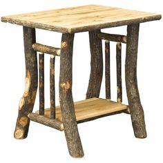 Amish Noble Rustic Hickory End Table ($403) ❤ liked on Polyvore featuring home, furniture, tables, accent tables, hickory furniture, handcrafted furniture, eco friendly furniture, handmade furniture and hickory wood furniture