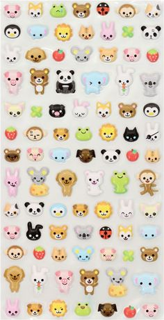 Japanese stickers with many bears, pandas, frogs, rabbits, cats, lions, monkeys and more