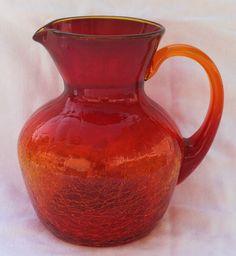 Beautiful ruby vintage hand blown Amberina Crackle Glass pitcher / ewer | eBay