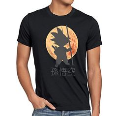 style3 Goku Moonlight Camiseta para hombre T-Shirt, talla:XL;Color:Negro #camiseta #friki #moda #regalo