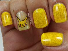Nails by Tenshi: Reto Colores 2: Amarillo Pikachu!! #NailArt