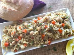 Chickpeas with orzo is an excellent vegan and gluten-free source of protein and fiber; they also contain exceptional levels of iron, vitamin and. Vegan Recipes Plant Based, Vegetarian Recipes, Healthy Recipes, Vegetarian Options, Vegan Dinners, Orzo Recipes, Greek Recipes, Vegan Greek, Going Vegetarian