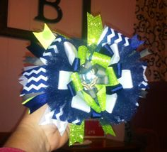 Over the top hair bow! Seattle SeaHawks inspired