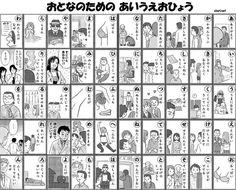 Hiragana chart for grown-ups / 大人のひらがな