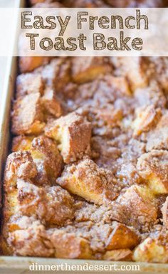 Easy French Toast Bake with no overnight chilling and all your favorite French Toast flavors you can serve to your family or a large crowd. Perfect with warm maple syrup. # breakfast casserole Easy French Toast Bake - Dinner, then Dessert Breakfast And Brunch, Breakfast Bake, Breakfast Dishes, Breakfast Recipes, Croissant Breakfast Casserole, Overnight Breakfast Casserole, Brunch Menu, Easy Breakfast Ideas, Figs Breakfast