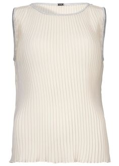 Cremefarvet plisseret top 22643 Gustav Pleated Sleeveless Top - ivory