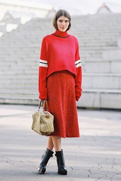 Monochrome red sweater and skirt