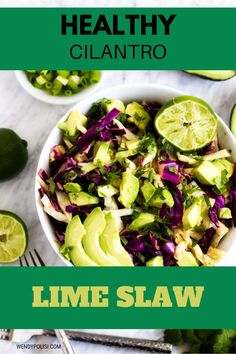 This easy Healthy Cilantro Lime Slaw is easily my favorite slaw recipe that I've ever made. It is so flavor packed. Make this one for your next family dinner, and you will have a glow of satisfaction that comes from serving something that everyone loves. #kickingcarbs #keto #lowcarb #slaw