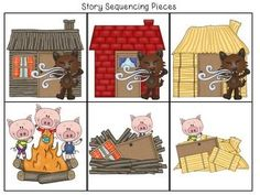 FREE Three Little Pigs Retelling and Story Sequencing Cards 3 Little Pigs Activities, Preschool Activities, Three Little Pigs Story, Fairy Tales Unit, Sequencing Cards, Fairy Tale Theme, Traditional Tales, Farm Theme, Pig Crafts