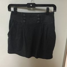 Forever21 Grey Retro Skirt High waisted dark grey skirt with pockets, side zipper, and attached buttons on front Forever 21 Skirts Mini