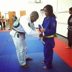 Jana receives her BJJ Yellow Belt. Less than 10 kids have received yellow belt at Crazy 88. #BJJ #jiujitsu #yellowbelt