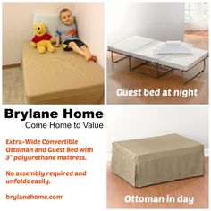 Brylane Home: Convertible Ottoman (a bed in disguise! Sofa Bed For Small Spaces, Guest Bed, Stay At Home Mom, Toddler Crafts, Fun Crafts, Convertible, Activities For Kids, Mattress, Ottoman