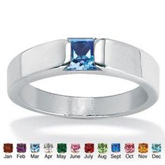 Princess-cut birthstone ring looks great worn alone or stacked for a contemporary look. Smart sterling silver design. Sizes 5-10. Specify birth month. Birthstones are simulated gemstones. Palm Beach Jewelry Item #: 21265