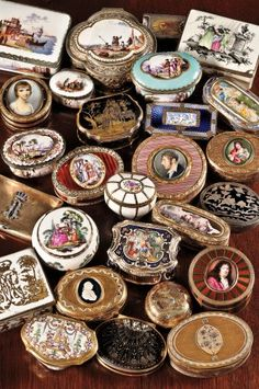 A collection of English, French, and German snuff and patch boxes.