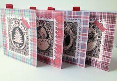 Christmas Card Pk of Four,Vintage Xmas Stamps Design,Pk of 4 Xmas Cards Handmade by Stephanie Short Stationery