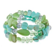 Erica Lyons Green Shell Mint To Be Beaded Coil Bracelet (45 BRL) ❤ liked on Polyvore featuring jewelry, bracelets, green, green jewelry, erica lyons jewelry, mint green jewelry, green bangles and tri color bangles