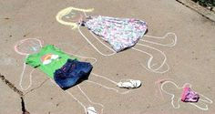 The Iowa Farmer's Wife: Outside Play Link-Up: Chalk Dress-Up Dolls. Plus other sidewalk chalk ideas. Outdoor Summer Activities, Fun Activities For Toddlers, Craft Activities, Games For Kids, Sidewalk Chalk Games, Dress Up Dolls, Baby Center, Business For Kids, Outdoor Play