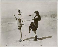 Jean Haskall & Kathleen Kay on a Pacific beach, c.1920