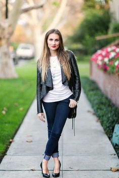 OOTD: Textured Casual leather + denim look. #HelloGorgeous