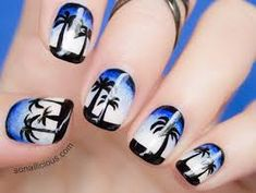 80 Classy Nail Art Designs for Short Nails - Diy Nail Designs Tropical Nail Designs, Beach Nail Designs, Pretty Nail Designs, Nail Art Designs, Beach Design, Awesome Designs, Ocean Nail Art, Beach Nail Art, Beach Nails