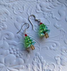 Crystal Christmas Tree Earrings Swarovski by CharmingLadybug