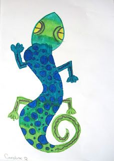 """watercolor lizard - see """"Kids - Art, How to draw"""" board for how to draw a lizard"""