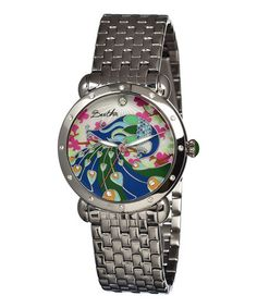 Loving this Silver Peacock Mother-of-Pearl Didi Bracelet Watch on #zulily! #zulilyfinds